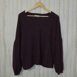 M Altar'd State Waffle Knit Balloon Sleeve Top